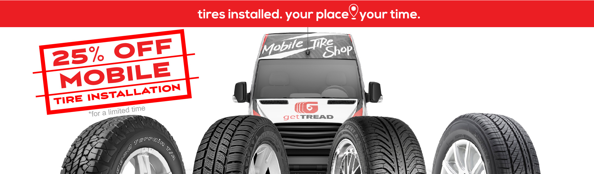 25 percent off mobile tire installation with getTREAD